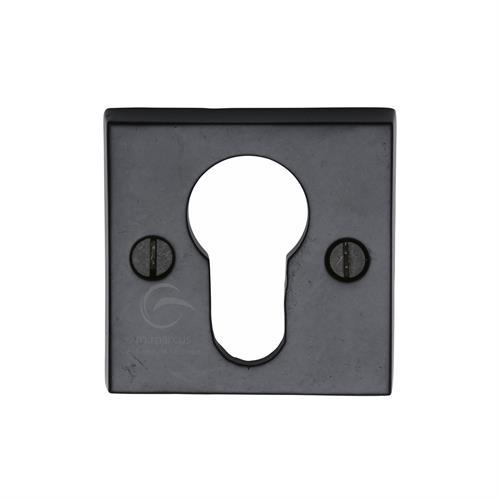 Euro Profile Cylinder Escutcheon Square Black Iron