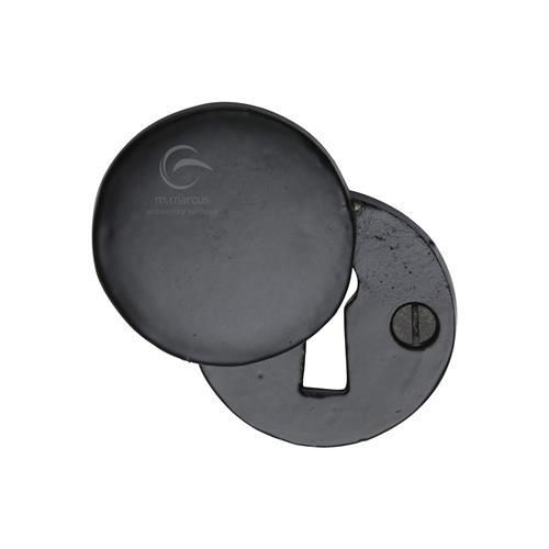 Standard Key Escutcheon Round Covered Black Iron